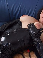 Kinky housewife playing with herself through the house