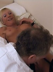 Stocking clad blondie Kay gets her mature pussy eaten by her lover then fucked after live