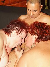 Explicit threesome with two hefty mature women Agnes and Margaret double teaming a cock